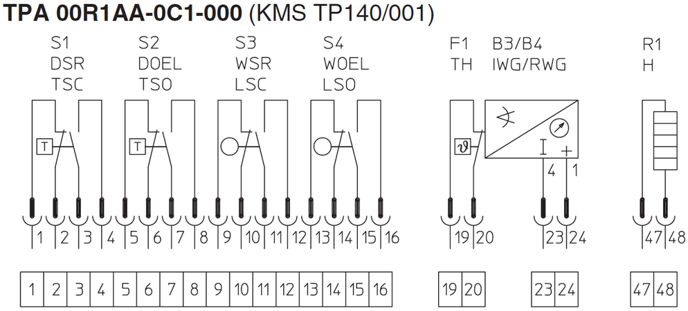 Anschlussplan: TPA 00R1AA-0C1-000 (KMS TP140/001)